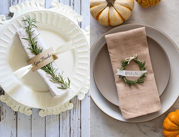 kreative tischdeko ideen zu thanksgiving mit rosmarin und namenschilder als platzteller-dekoration