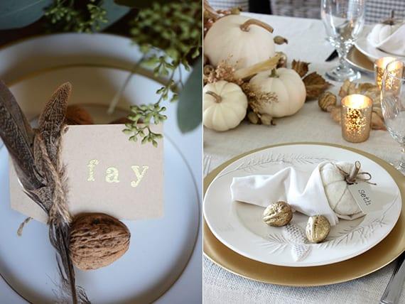 kreative tischdeko ideen zu thanksgiving mit walnüssen, federn und platzkarten
