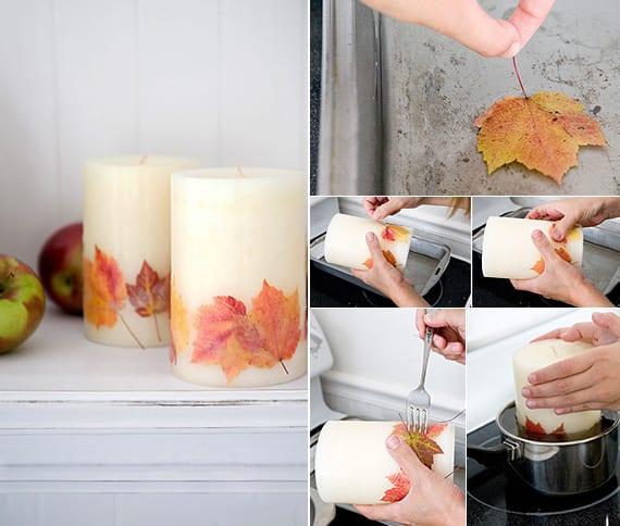 Kerzen basteln mit baumblättern als herbst deko idee
