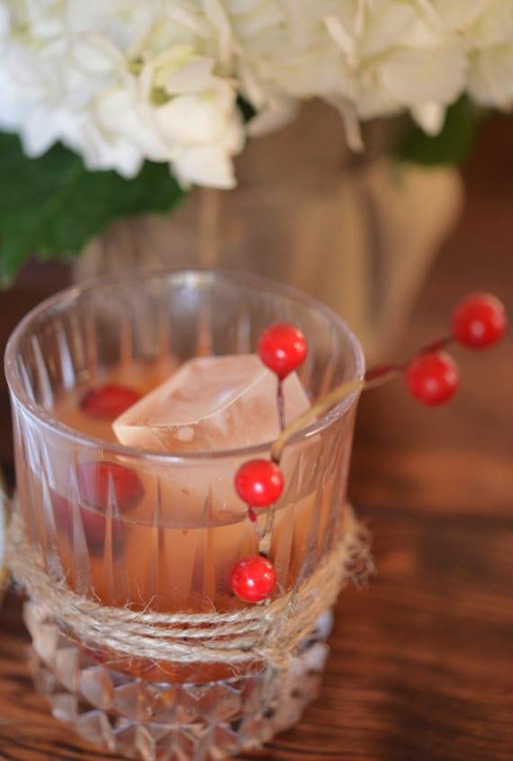 coole dekoideen zu thanksgiving mit Cranberry_ cocktailgläser dekorieren mit Bindfaden und roten Beerenfrüchten