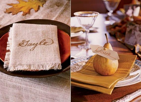 servietten falten und als platzkarte beschriften_bastelidee für diy tischkarten mit obst