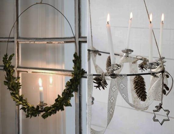 hängende weihnachtsdeko ideen mit kerzen_fensterdeko mit kranz aus buchsbaum undkerze und diy kronleuchter mit zapfen, spitze und kerzen