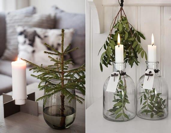 coole winterdeko mit glasvasen, weißen kerzen, olivenzweigen oder mini-tannenbaum