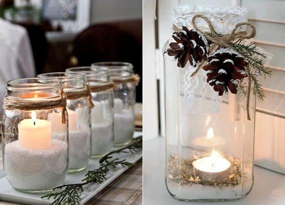 winter bastelideen für teelichthalter mit zucker, zapfen, tannengrün und Spitze