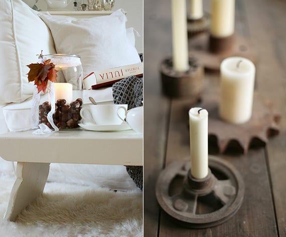 coole dekoideen für romantisches Weihnachten_tischdeko mit teelichter aus glasvase mit kastanien und baumblettern und diy kerzenhalter aus alten metallrädern