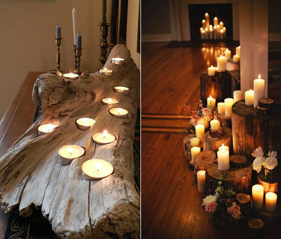 romantische dekoideen mit kerzen und holzstämmen_sideboard rustikal dekorieren mit diy teelichthalter aus treibholz