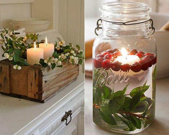rustikale kerzen deko mit weißen kerzen und schneebeeren in holzkiste und diy kerzenhalter zu weihnachten mit teelichtkerze und roten beeren im wasser