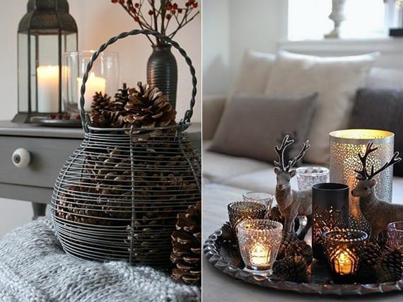 skandinavische Weihnachtsdeko ideen in grau mit Zapfen im metallkorb, hirsch.figuren und weihnachtlichen teelichthalter aus glas und metall