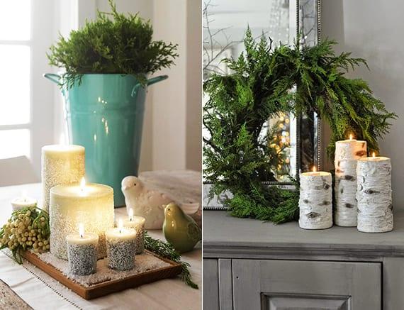 romantische weihnachtsdeko ideen im rustikalen stil mit thujagrün, metalleimer in hellblau, kerzen auf holzschneidebrett und keramikvögeln