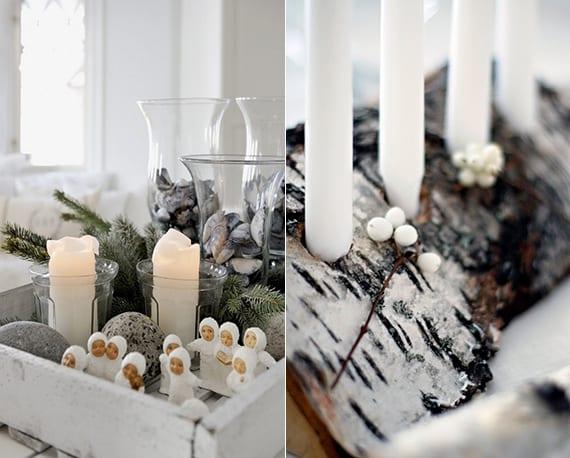 skandinavische winterdeko in weiß und grau_weihnachtliche tischdeko mit DIY Kerzenhalter aus baumstamm und kerzen deko mit Muschelschalen, steinen und weißen engel-figuren in weißer holzkiste