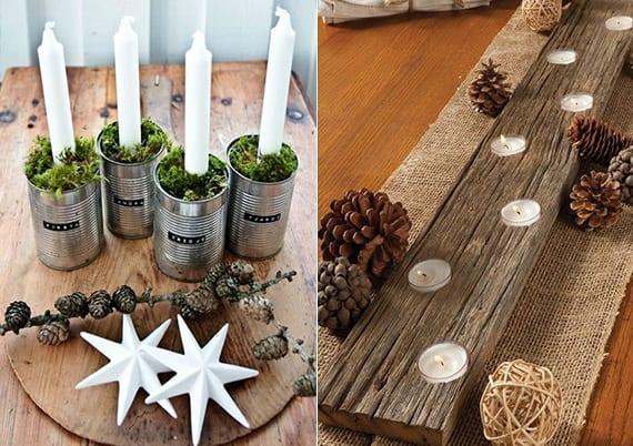weihnachtliche tischdeko ideen mit Holzbrett-teelichthalter,diy kerzenhalter aus dosen, weißen sternen und zapfen
