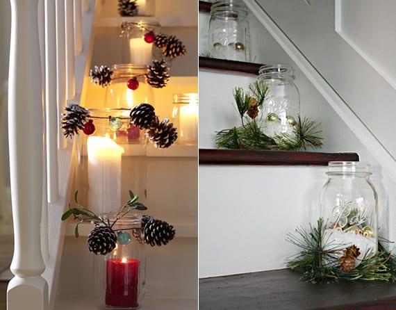 romantik im winter schaffen durch weihnachtliche treppendeko mit diy teelichthaltern aus Einmachgläser mit zapfen und tannengrün