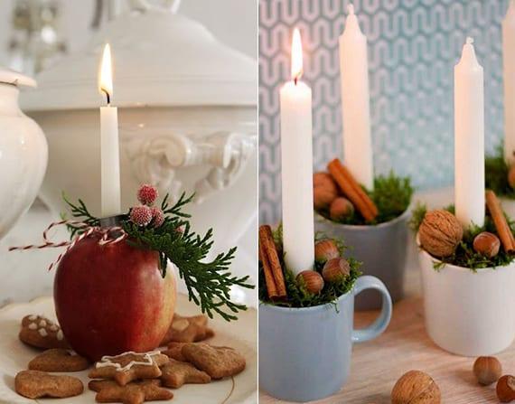 diy kerzenhalter zum weihnachten aus Apfel und bechern mit grün, zimtstangen und nüssen