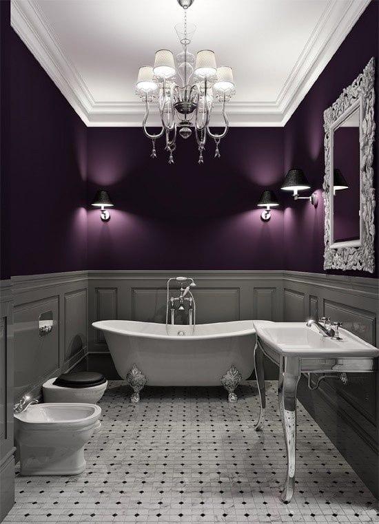 badezimmer gestalten in lila grau wandfarben