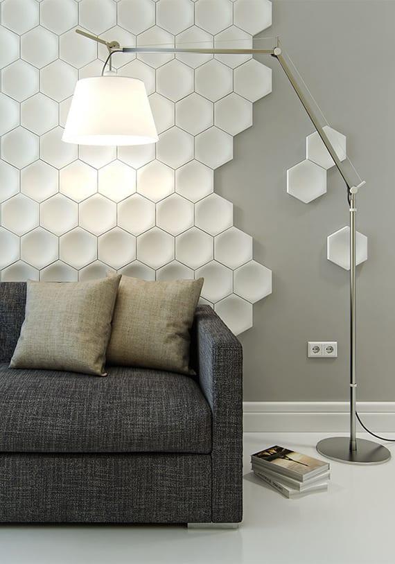 3D Wandfliesen in hexagon-form für moderne wandgestaltung wohnzimmer in weiß und grau