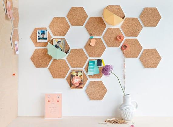 coole dekoideen für homeoffice mit diy wanddeko und diy memotafel aus korkplatten