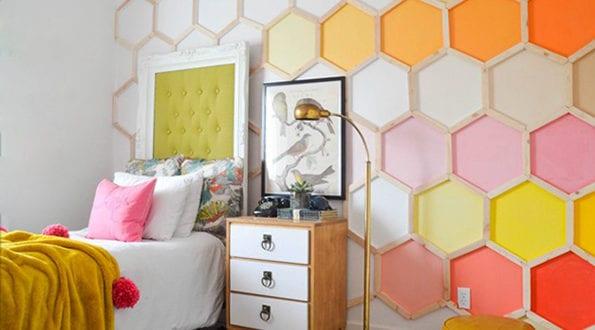 sechseck wandmuster ideen f r eine tolle wandgestaltung. Black Bedroom Furniture Sets. Home Design Ideas