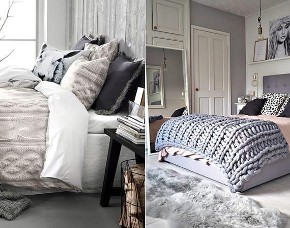 schlafzimmer gestalten in grau mit wandfarbe grau, strickdecke grau, pelzdecke grau und bett mit kopfteil grau
