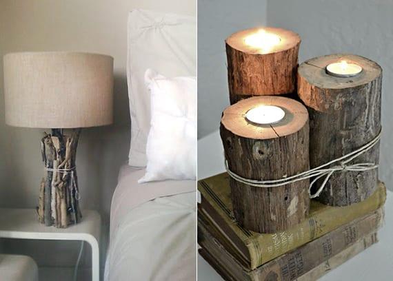 rustikale kerzenhalter und tischlampe aus holz basteln_gemütliche schlafzimmer dekoration