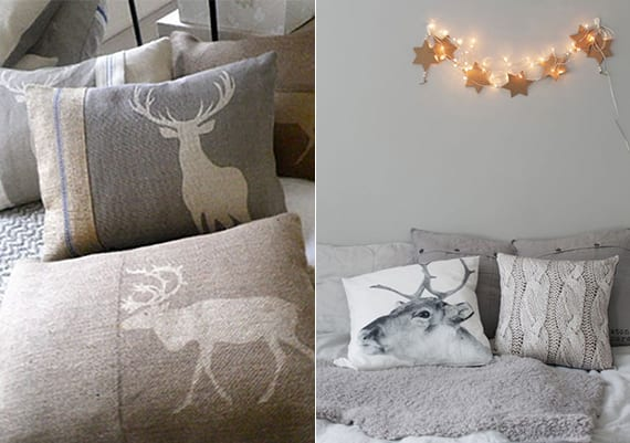 schlafzimmer weihnachtlich dekorieren in grau und weiß mit dekorativen kissen mit hirsch-motiv