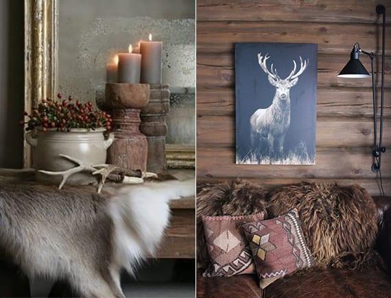 winter dekoideen mit Hirsch-Motiven, Pelz-decken,rustikalen holzkerzenhaltern und wandlampen im industrial stil für gemütliche schlafzimmer