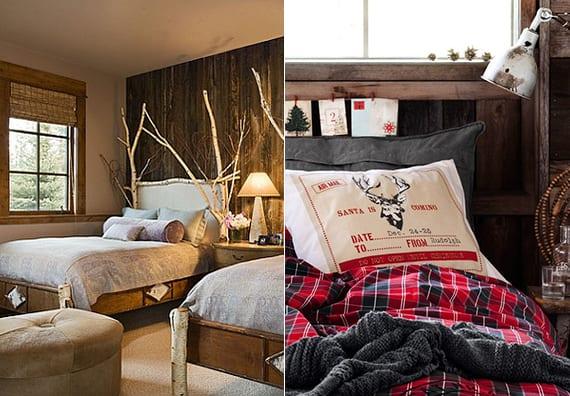 rustikales schlafzimmer interieur mit holzwandverkleidung_winter bettkopfteil deko mit ästen und weihnachtskarten
