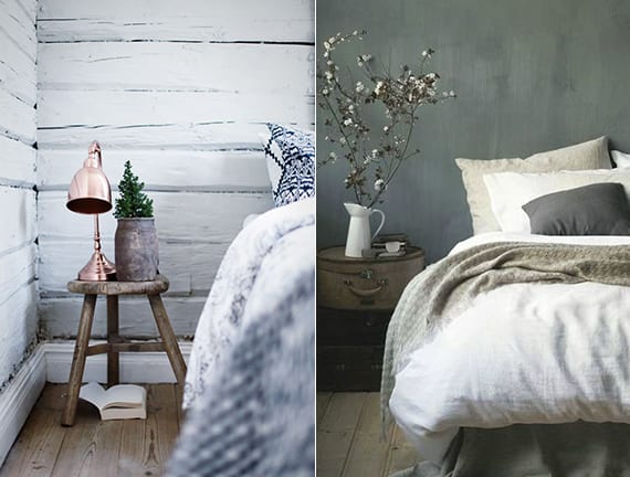 rustikale winterdekoration im schlafzimmer mit runden Koffern und holzhocker als diy nachttisch