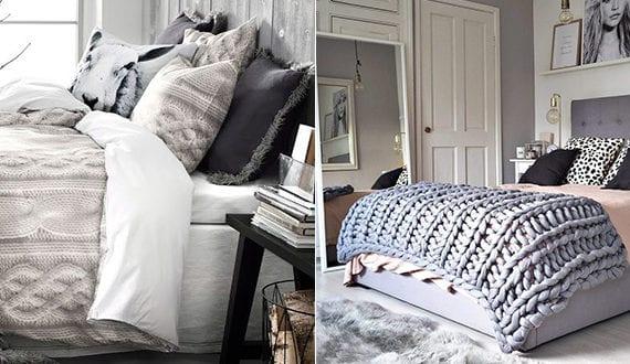 wie laesst sich im winter ein schlafzimmer gemuetlich gestalten mit pelz und strickdecken. Black Bedroom Furniture Sets. Home Design Ideas