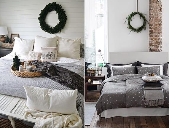 bett dekorieren mit kissen und bettwäsche in grau und weiß_winter wanddeko schlafzimmer mit grünem kranz