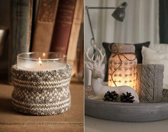 Lieblich Coole Winter Deko Ideen Mit DIY Strick Kerzenhalter, Zapfen Und  Hirsch Figuren