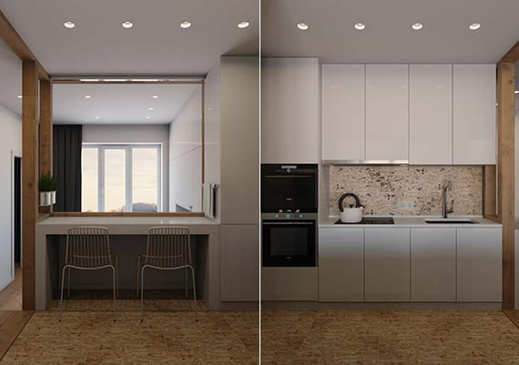 kleine offene küche modern einrichten mit weißen küchenschränken, kleinem esstisch und einbaudeckenleuchten