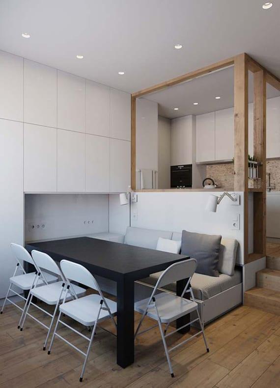 kleine wohnung modern gestalten in weiß und schwarz mit platzsparenden möbeln
