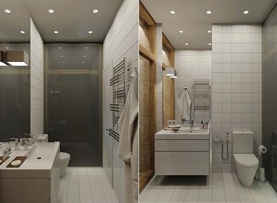 kleines badezimmer modern gestalten mit einbaudeckenleuchten,mattierter glaswand, weißen badfliesen und wandspiegel hinter waschtischschrank weiß