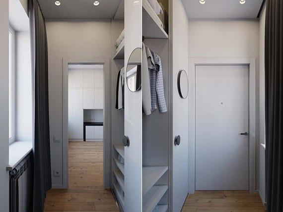 kleine wohnung funktional einrichten mit eingebautem kleiderschrank mit schiebetüren im eingangsbereich