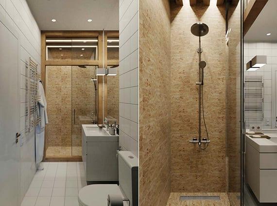 modernes badezimmer mit dusche hinter verglasung im holzrahmen und wandverkleidung mit holzwerkstoffplatten