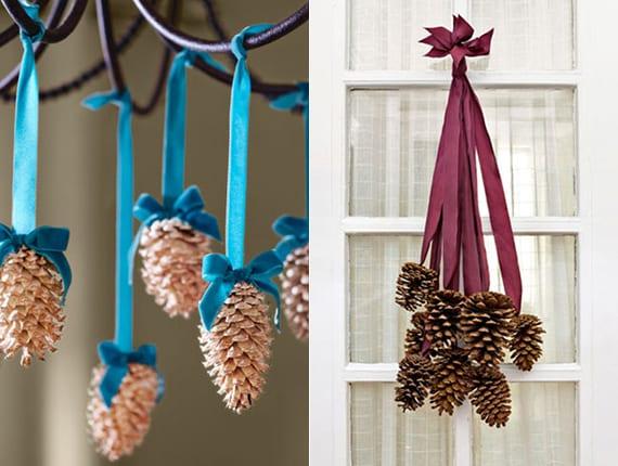 weihnachtliche Hängedeko mit Zapfen basteln als Winterdeko für Türe, Fenster und Pendellampen