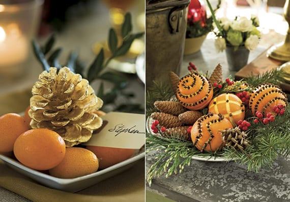 weihnachtliche Tischdeko ideen mit Orangen, Mandarinen und Nadelbäume Zapfen