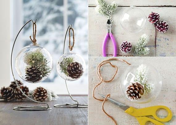 kreative weihnachtsdeko basteln mit glaskugeln und nadelbäume zapfen