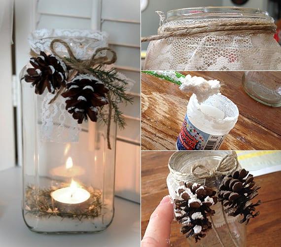 weihnachtliche Teelichter basteln und dekorieren mit zapfen