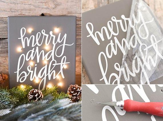 coole weihnachtsdeko basteln mit lichterkette, Leinwand und Zapfen