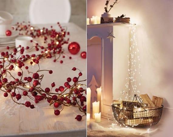 coole Weihnachtsdeko Ideen mit LED-Lichterkette mit roten Beeren und LED-Lichterregen
