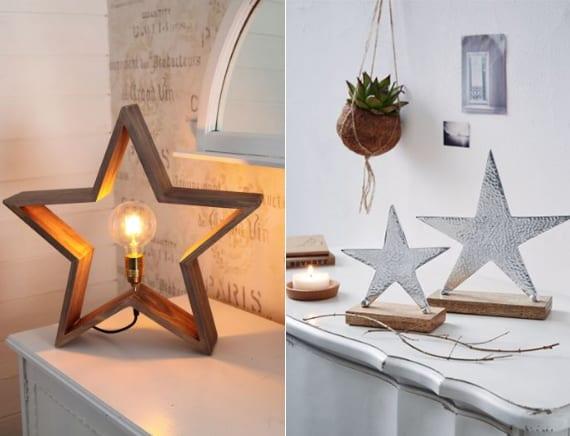 coole Dekoideen zu weihnachten mit Sterne-Tischlampe aus holz und Sterne-Deko-Set aus gehämmertem Silber