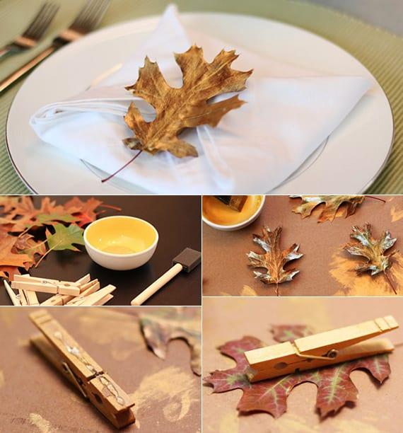 servietten originell falten und mit wäscheklammer und gold bemaltem Baumblatt halten