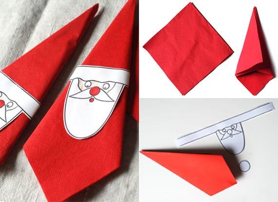 servietten weihnachtlich falten mit diy weihnachtsmann-serviettenring aus papier