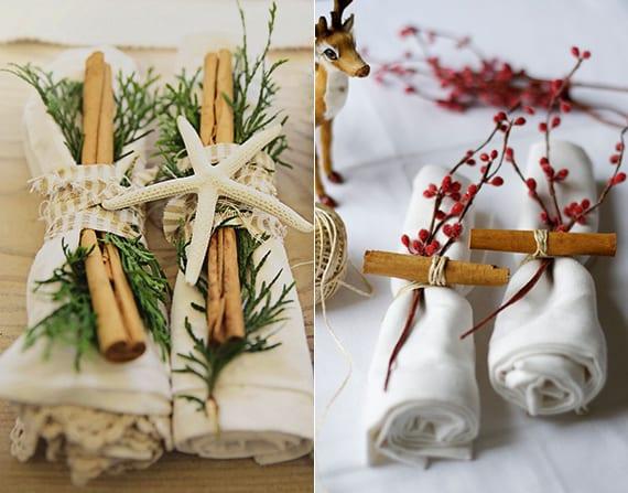 servietten falten weihnachten mit zumtstangen, tannengrün, beerenzweigchen und seestern