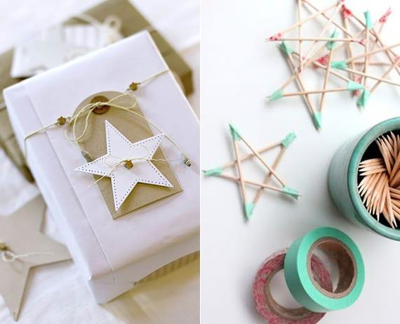 geschenke kreativ verpacken weihnachten mit diy stern aus Zahnstochern und farbiger Klebeband