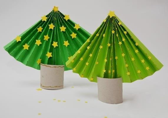 kinder basteln tannenbaum aus papier