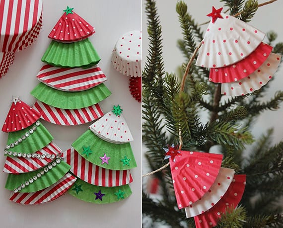 kreative tannenbaum-dekoartikel aus gemusterten backpapierkoerbchen falten