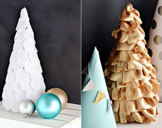 coole bastelideen für originelle weihnachtsdeko mit selbstgemachtem Tannenbaum aus Folz und Seide