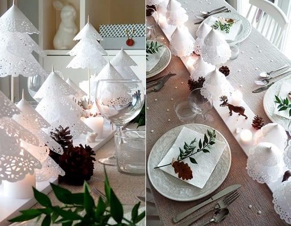 coole bastelidee für weißen tannenbaum falten aus runden Spitz-papierservietten